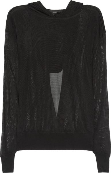 Alexander Wang Hooded Mesh Top in Black