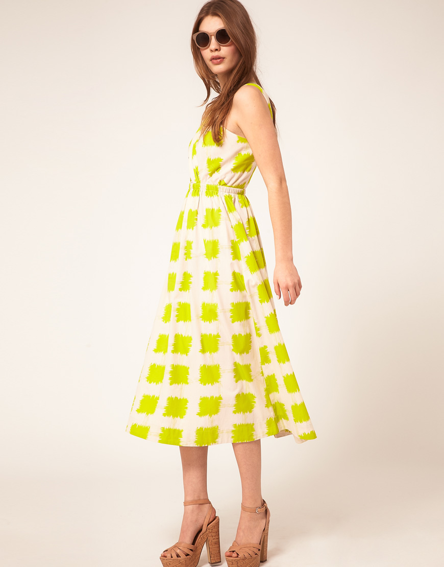 Asos Printed Midi Summer Dress With Cross Strap Bodice in Yellow ...