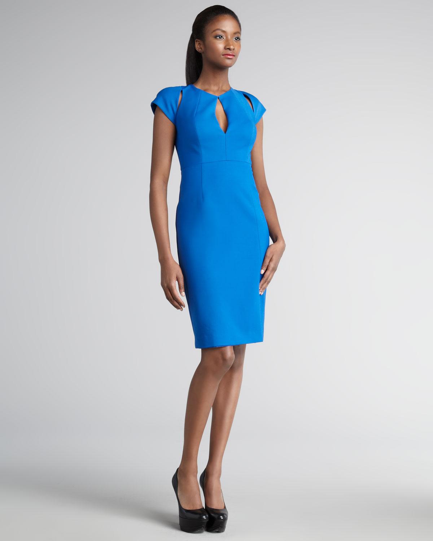 Black halo Eddie Scuba Sheath Dress in Blue | Lyst