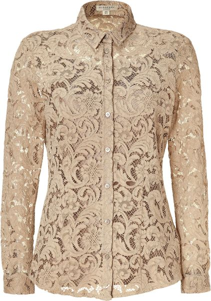 Burberry Nude Lace Top with Silk Cami in Beige (nude)