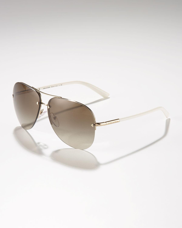 d186db40f3 Lyst - Prada Metal Aviator Sunglasses in White for Men