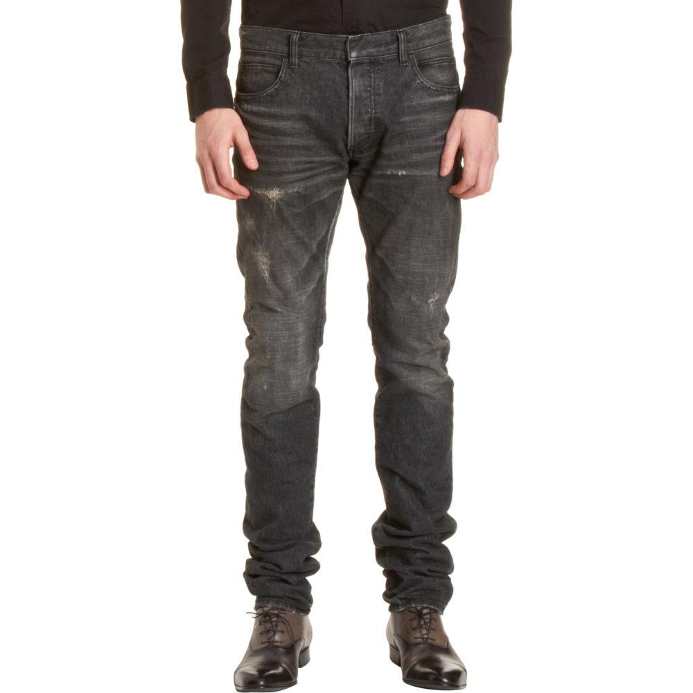 balmain vintage distressed straight jeans in blue for men denim lyst. Black Bedroom Furniture Sets. Home Design Ideas