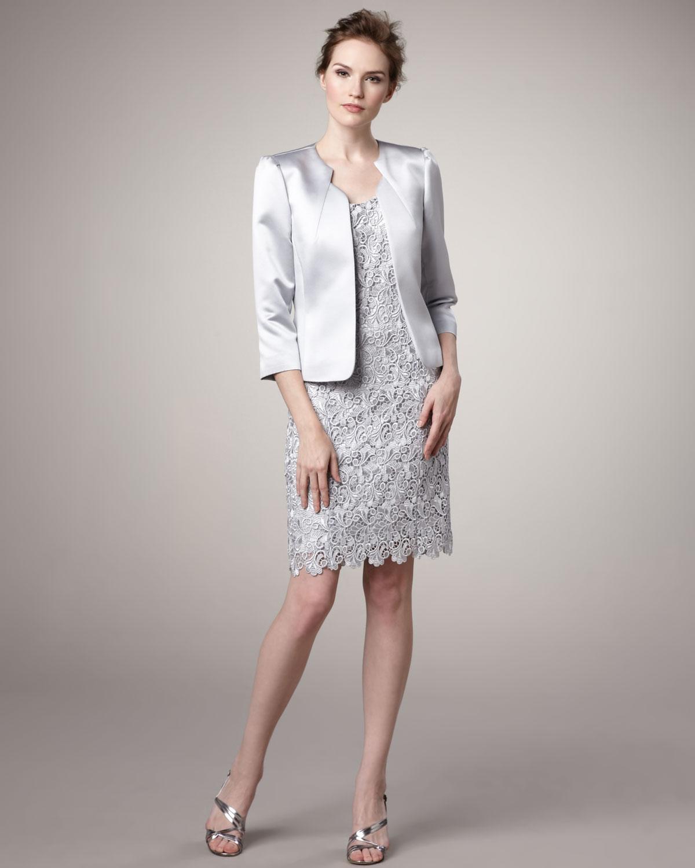 Lyst Tahari Satin Jacket And Lace Dress In Metallic