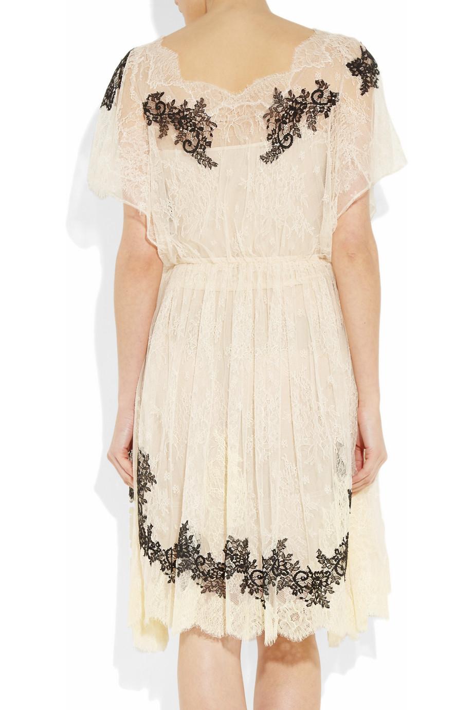 Valentino Appliqu 233 D Lace Dress In Cream Black Lyst