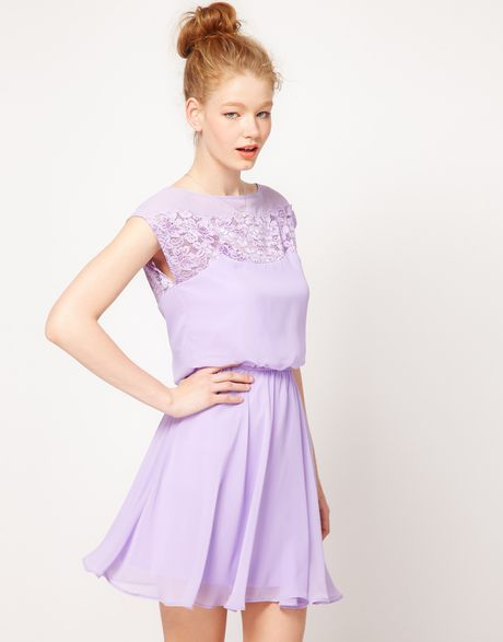 Asos Skater Dress With Daisy Lace In Purple Lilac Lyst