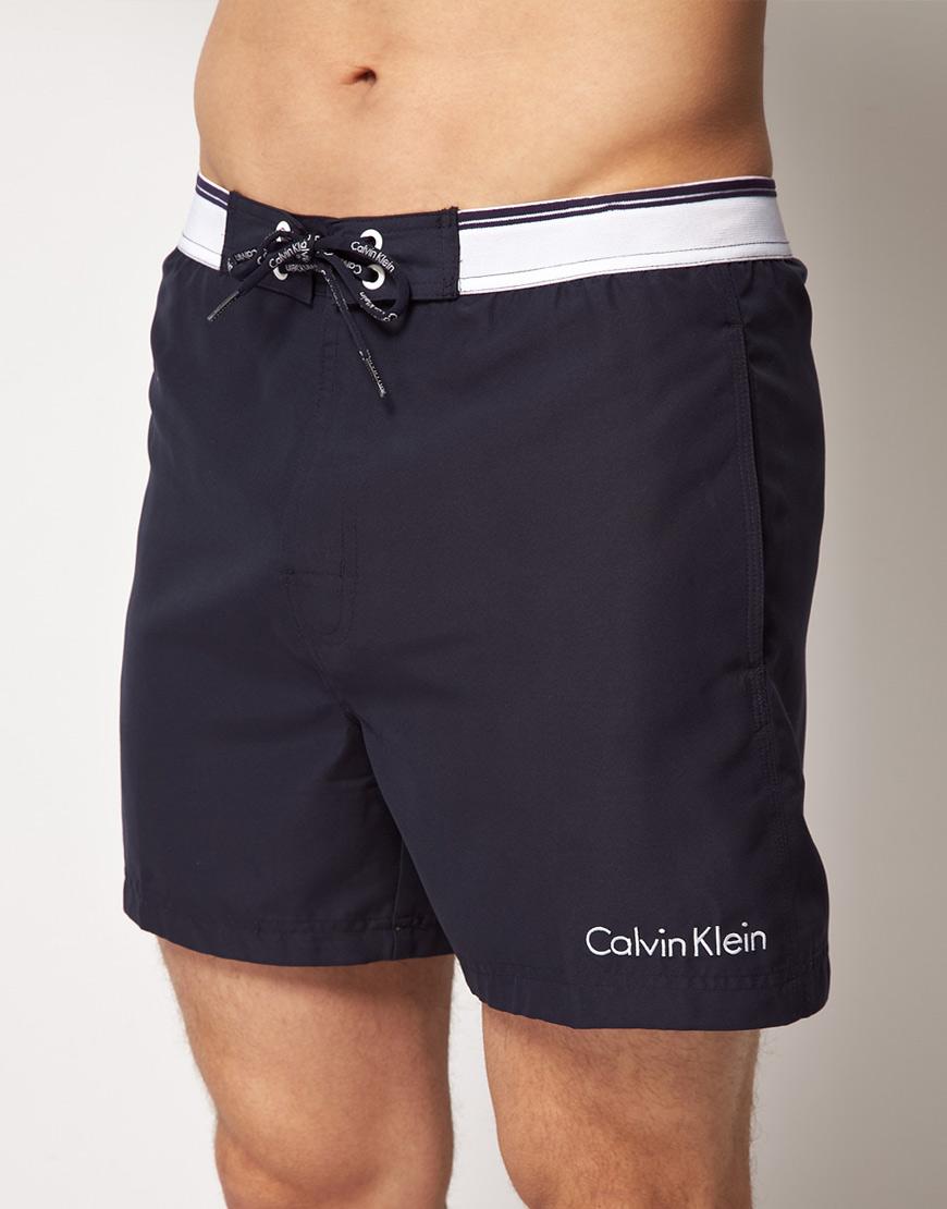 calvin klein exclusive swim shorts in blue for men navy. Black Bedroom Furniture Sets. Home Design Ideas