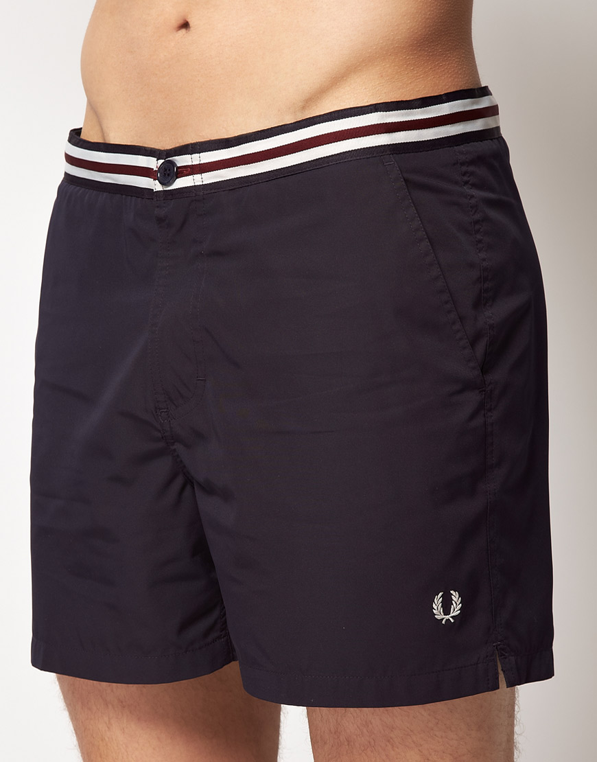 Fred Perry Fred Perry Waistband Tape Swim Shorts In Blue