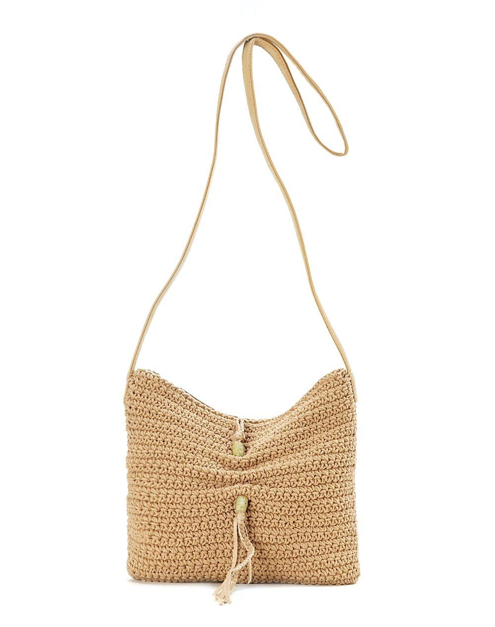Crochet Crossbody Bag : Lucky Brand Ojai Crochet Medium Crossbody Bag in Beige (camel) Lyst
