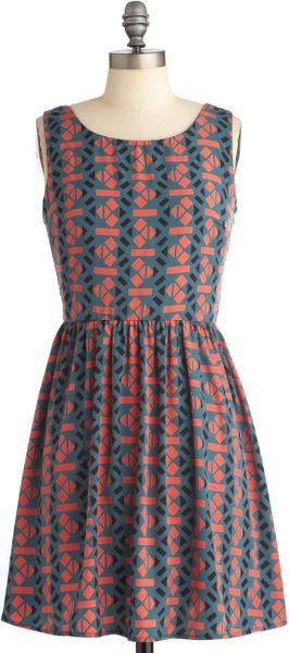 Modcloth Geometrically Speaking Dress in Blue (orange)