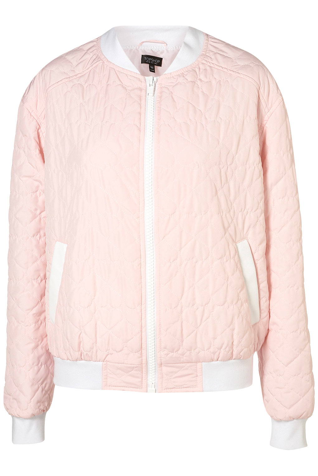Topshop Heart Quilted Bomber Jacket In Pink Lyst