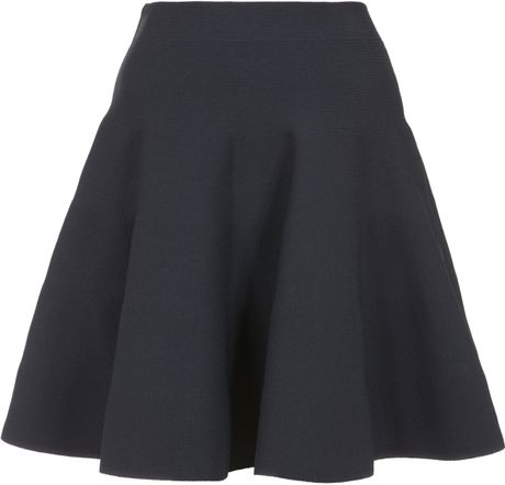 carven navy stretch knit flared skirt in blue navy lyst