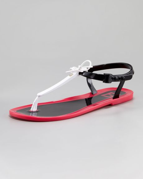 12f60c105531 Fendi Jelly Flat Thong Sandal in Black (white black pink)