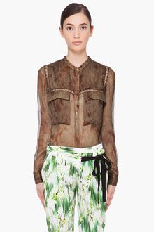 Matthew Williamson Gold Brown Silk Utility Blouse - Lyst