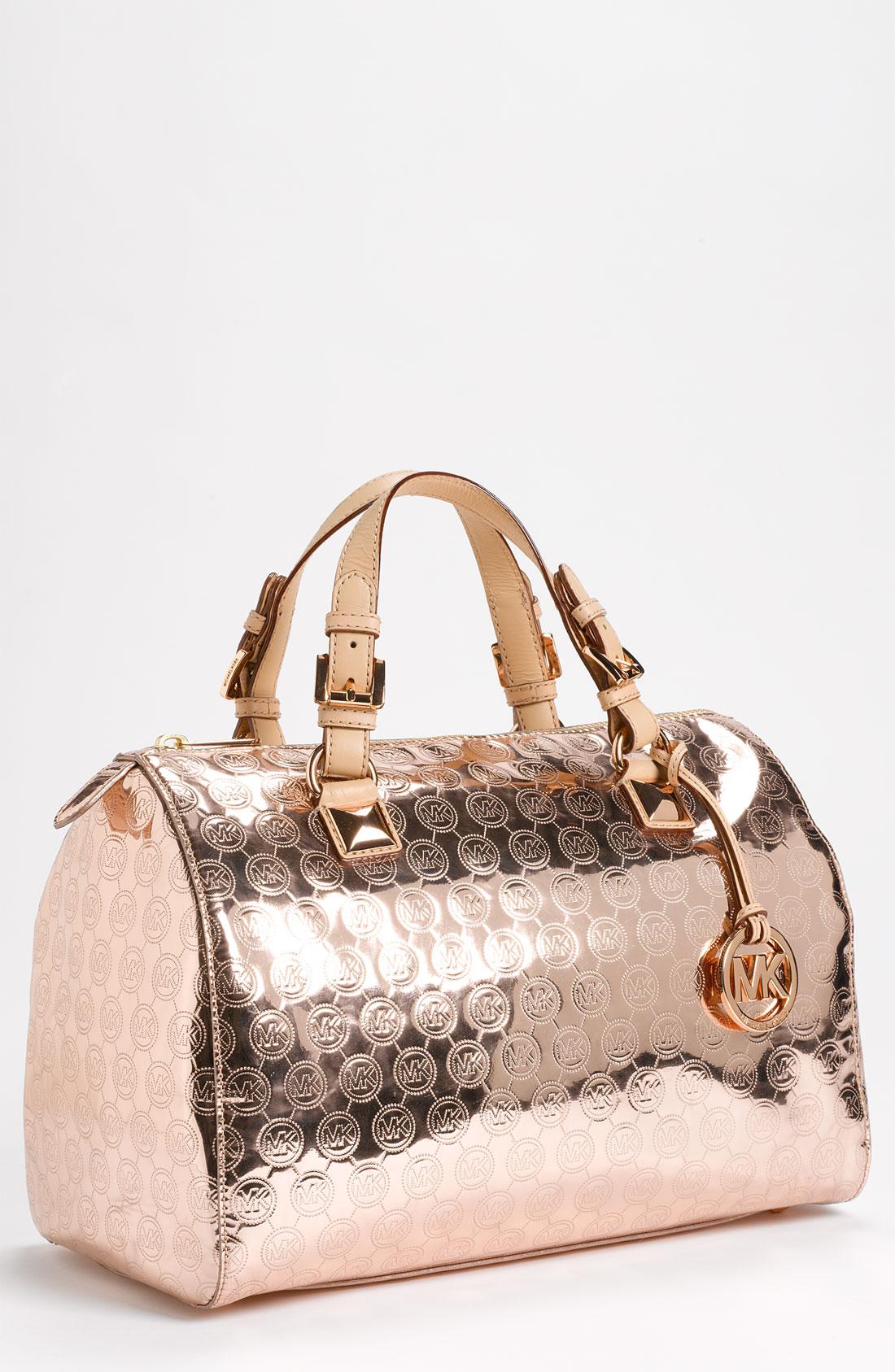 michael michael kors grayson large satchel in gold rose gold lyst. Black Bedroom Furniture Sets. Home Design Ideas
