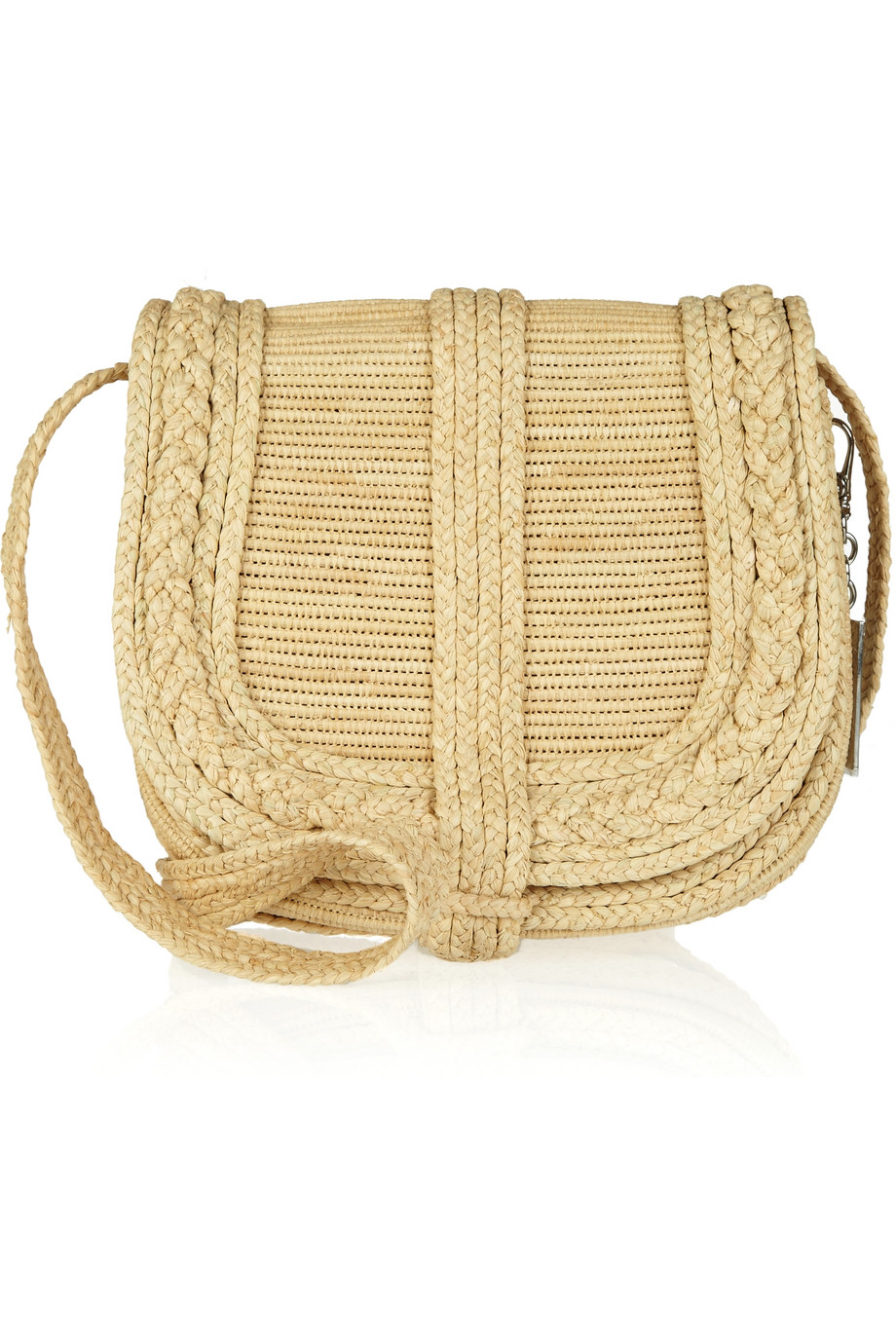 ralph collection woven straw crossbody bag in beige