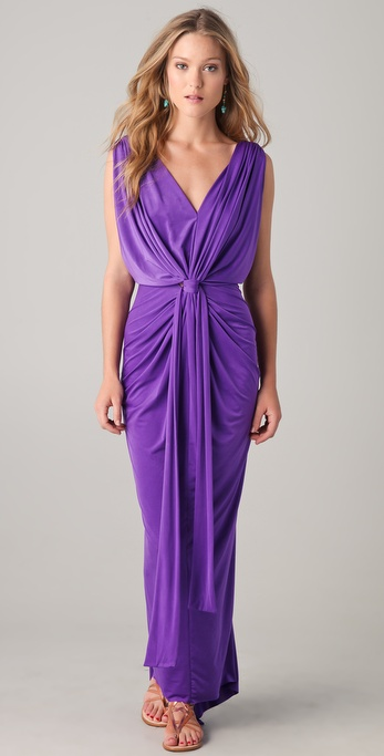 T-bags Gathered V Maxi Dress in Purple  Lyst