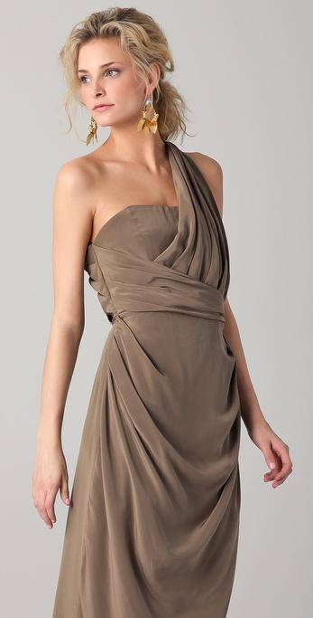 Zimmermann Silk One Shoulder Long Dress In Brown Lyst
