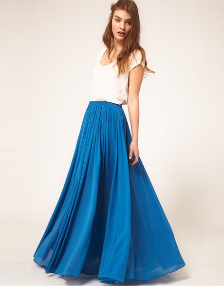 asos maxi skirt with broderie inserts in blue lyst