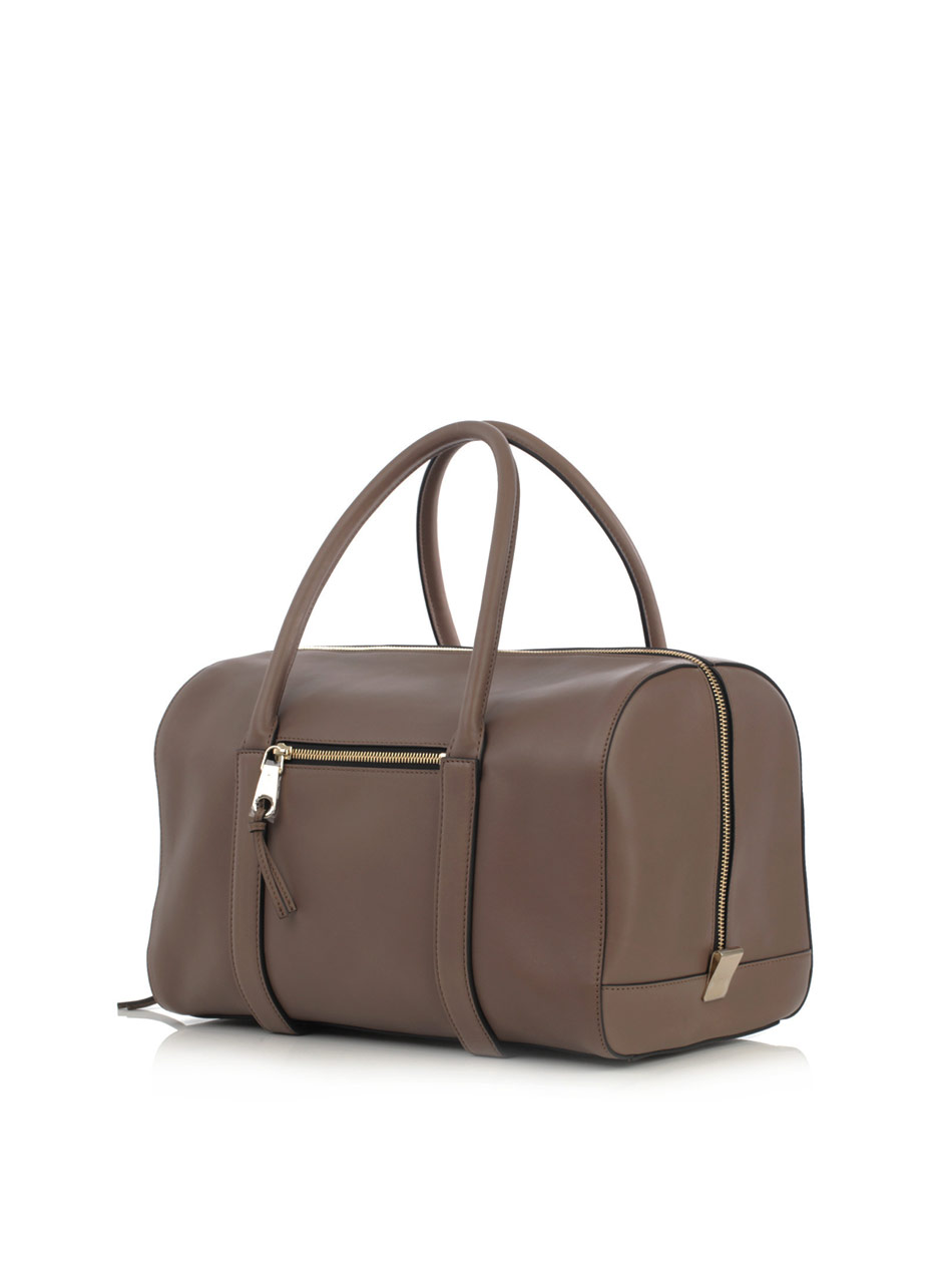 Chlo¨¦ Madeleine Leather Bowling Bag in Brown (taupe) | Lyst