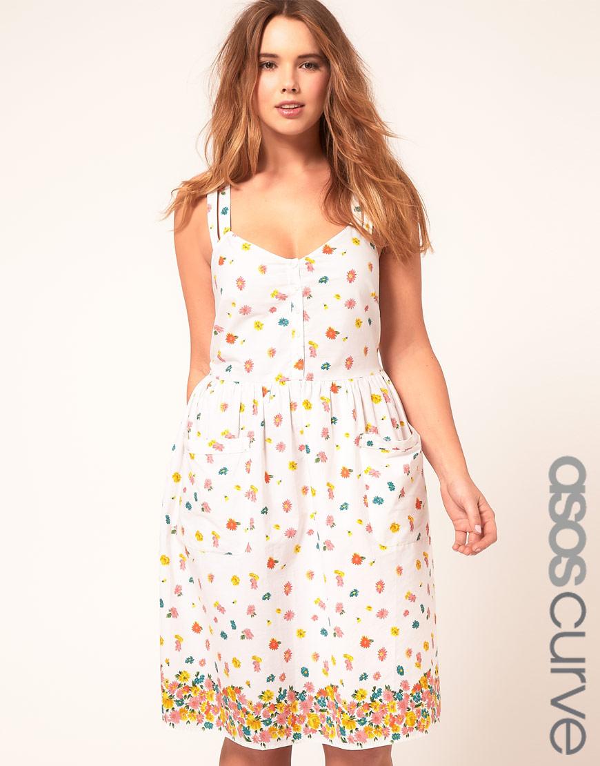 Asos Curve Midi Summer Dress With Floral Border Print  Lyst