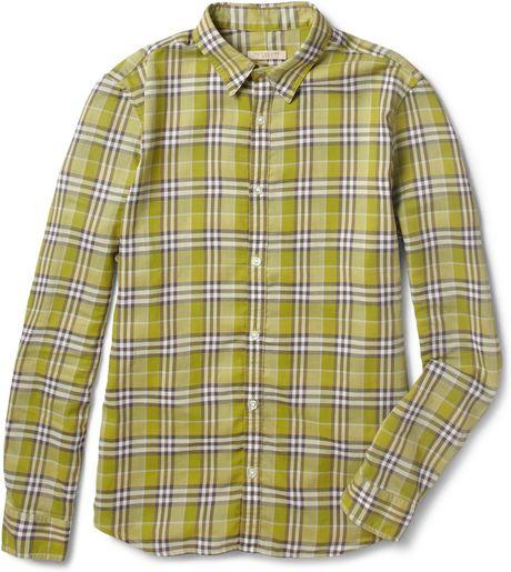 Burberry Brit Lightweight Plaid Slimfit Cotton Shirt In