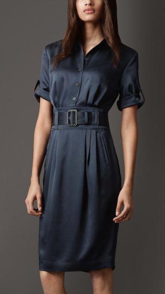 burberry silk belted shirt dress in blue navy lyst