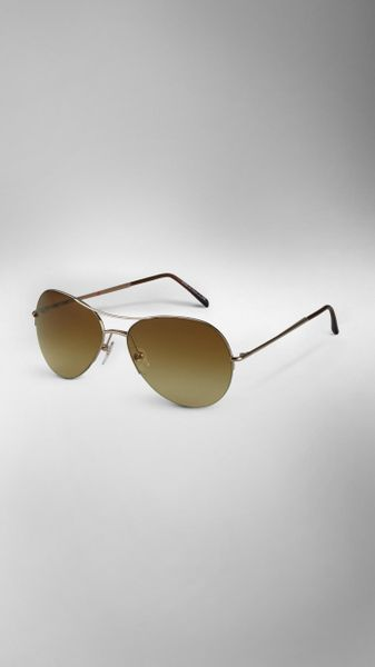 Burberry Half-Frame Aviator Sunglasses in Brown (pale gold)
