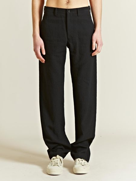 Issey Miyake  Linen Wool Mesh Trousers in Black for Men - Lyst