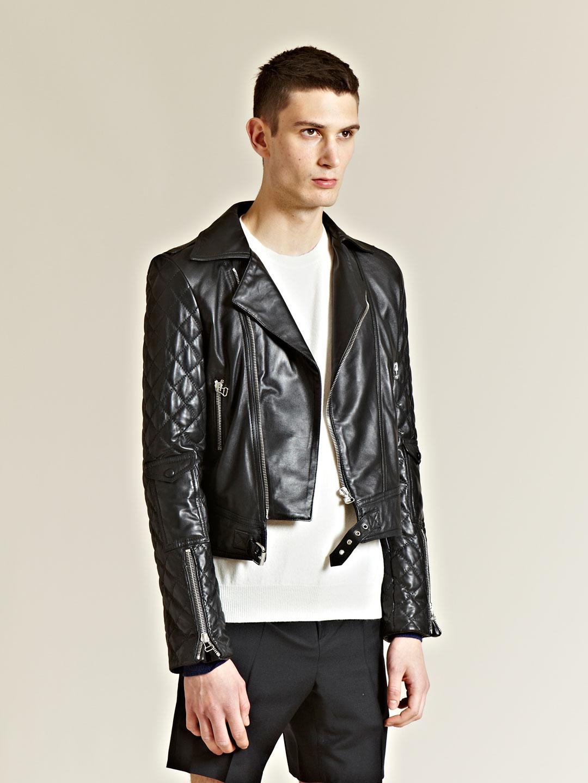 Dress shirt with leather jacket