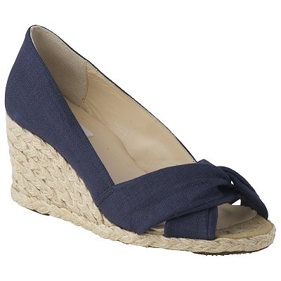 L K Bennett Lk Bennett Ella Linen Open Toe Wedge Sandals