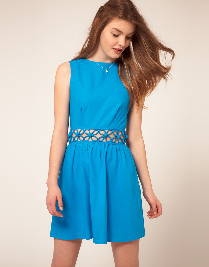 Asos Summer Dress With Cut Out Waist in Blue