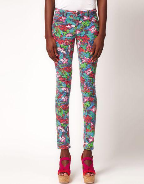 Asos Skinny Jean In Jungle Hibiscus Print in Multicolor (multi)