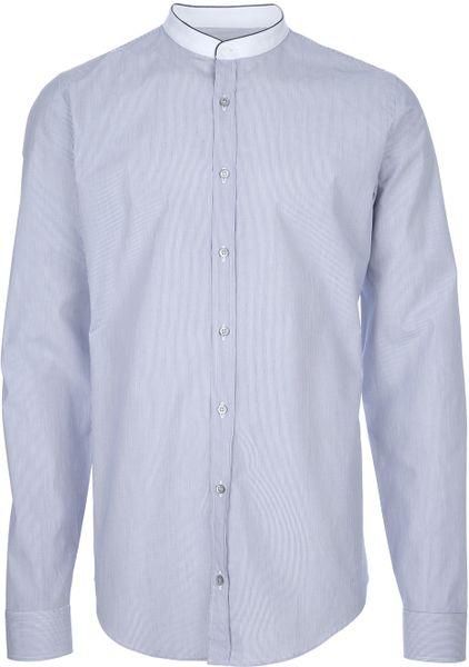 Gucci Mandarin Collar Shirt In Blue For Men Lyst