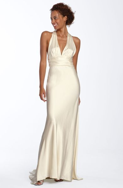 Nicole miller twist back silk satin gown in white antique for Nicole miller wedding dresses nordstrom