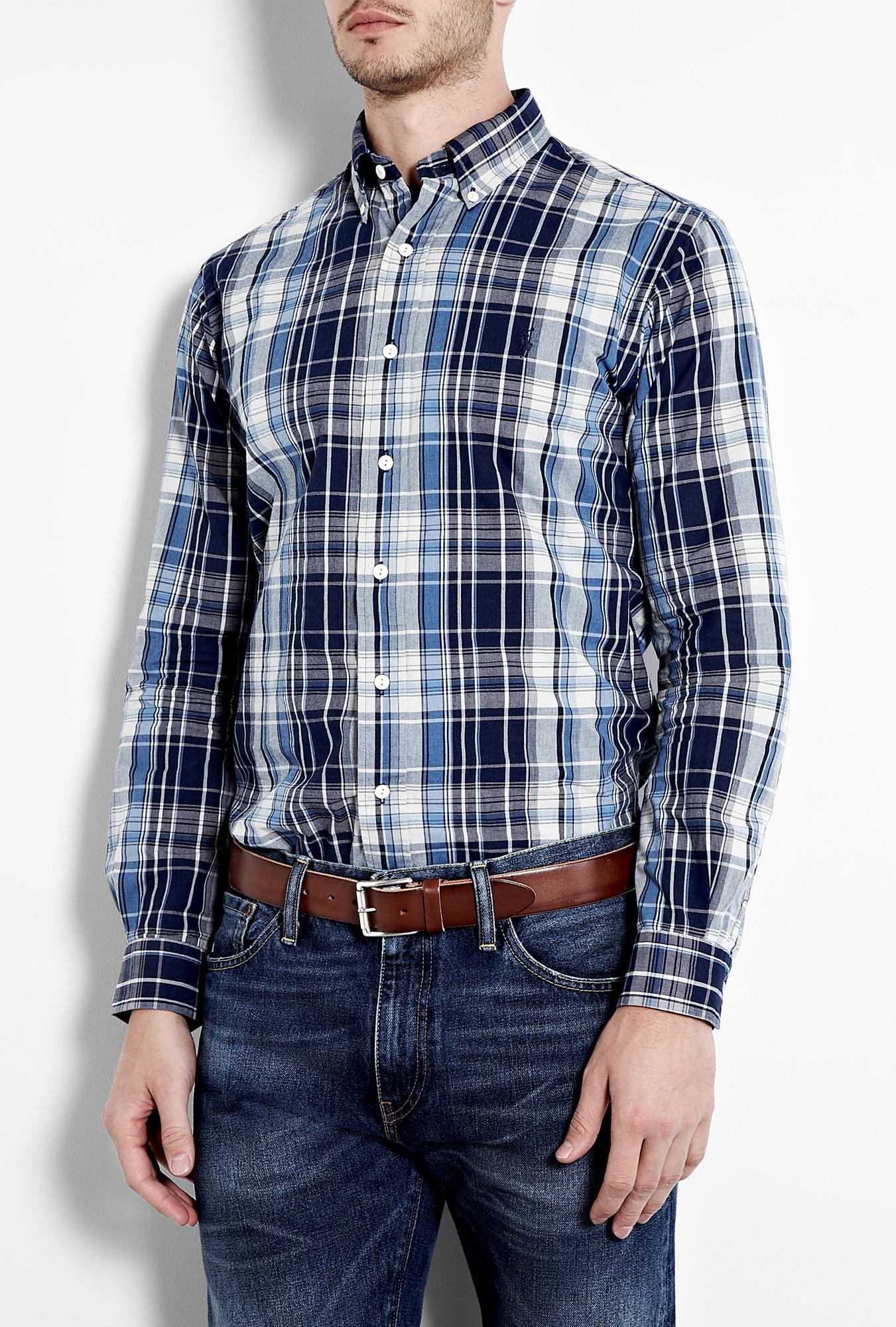 Polo ralph lauren navy blue plaid madras cotton shirt in for Navy blue plaid shirt