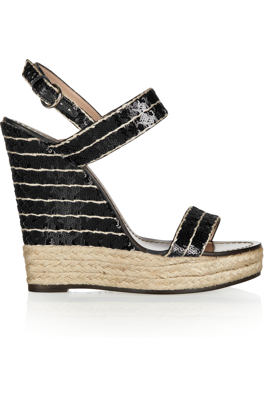 95b36823161 Lyst - Valentino Sequined Espadrille Wedge Sandals in Black