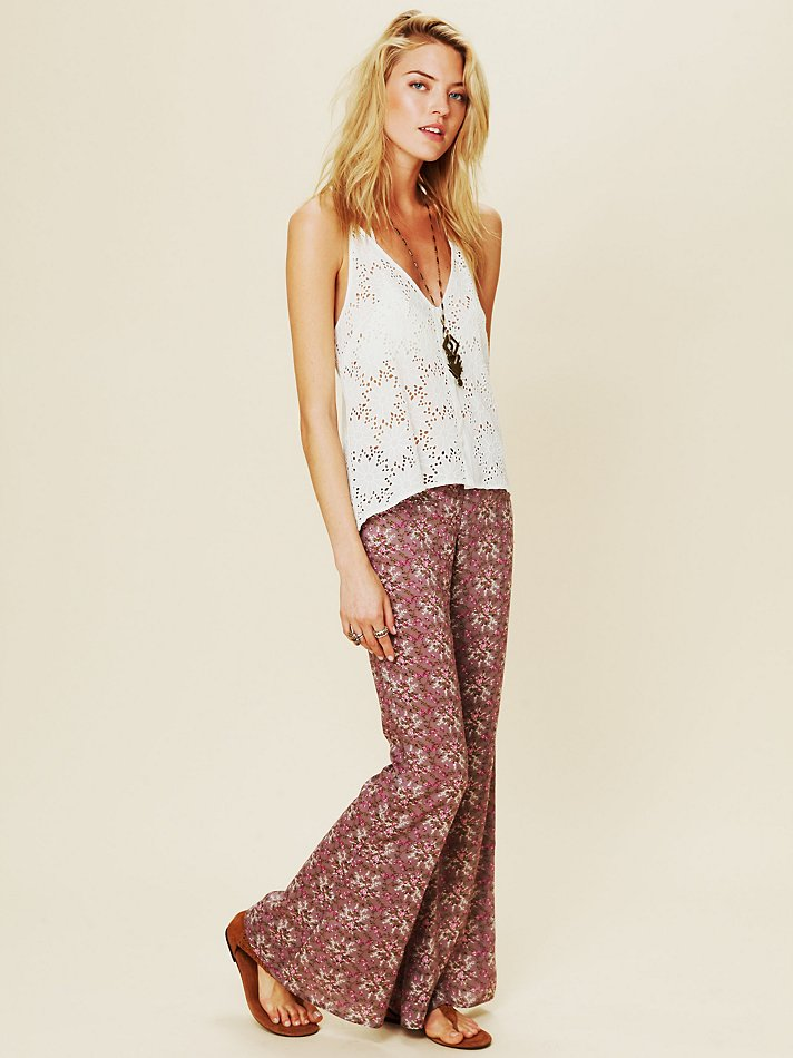 Free People Printed Flare Pant In Lavender Combo Purple