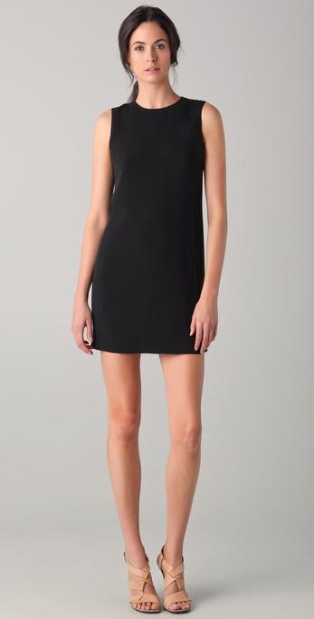 Vince Sleeveless Shift Dress in Black | Lyst