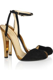 Gucci Metallic Leather and Suede Sandals - Lyst