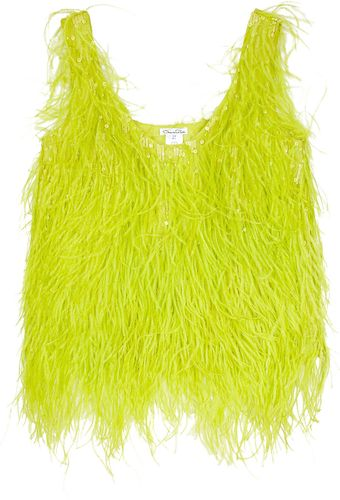 Oscar de la Renta Feathered Silk Top - Lyst