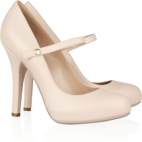 Dolce Amp Gabbana Mary Jane Leather Pumps In Beige Blush