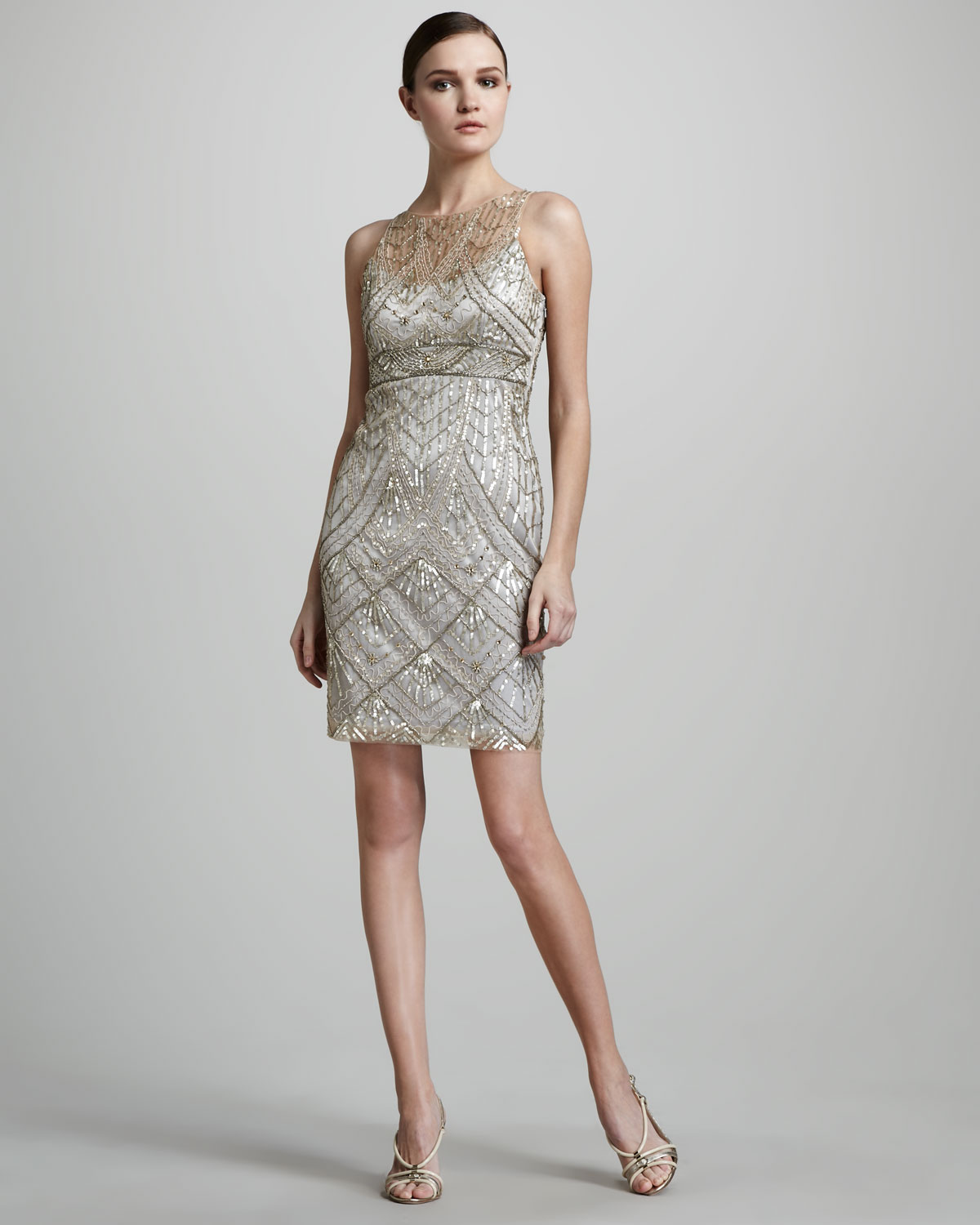 Sue wong Beaded Cocktail Dress in Metallic | Lyst