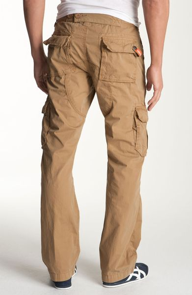 superdry military cargo pants in khaki for men dulled
