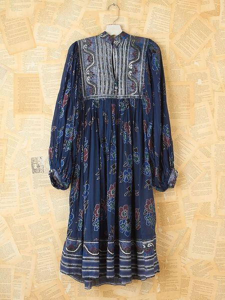 Free People Vintage Blue and Silver Mid Length Dress in Blue - Lyst