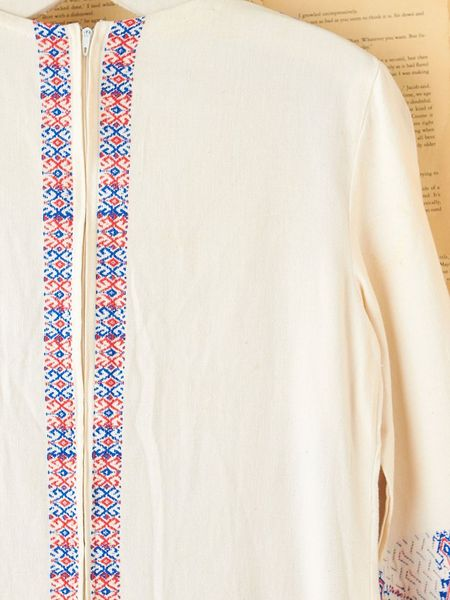 Free People Vintage Long Embroidered Tunic Dress In White