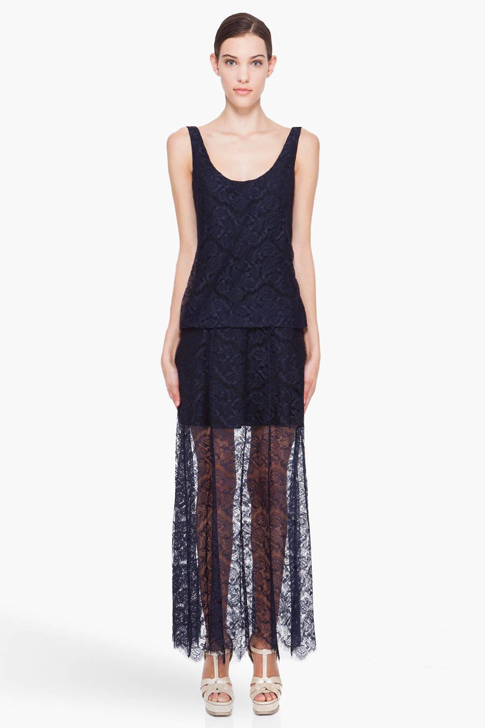 Lyst Carven Long Navy Lace Dress In Blue