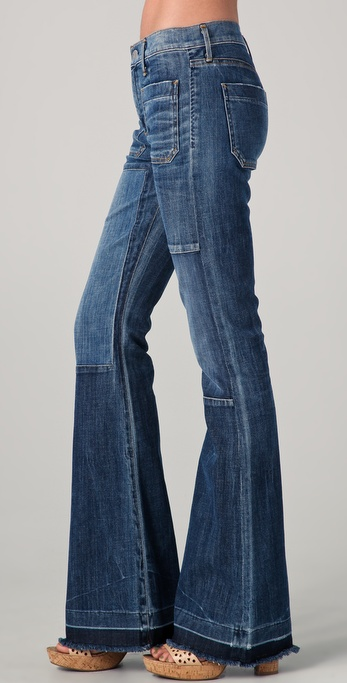 Citizens of humanity Riviera Vintage Patchwork Flare Jeans in Blue ...