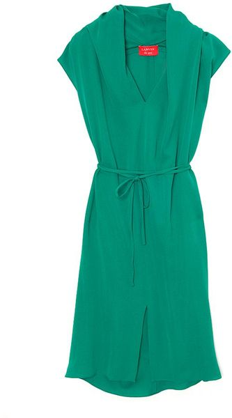 Lanvin Sleeveless Robe Dress in Green - Lyst