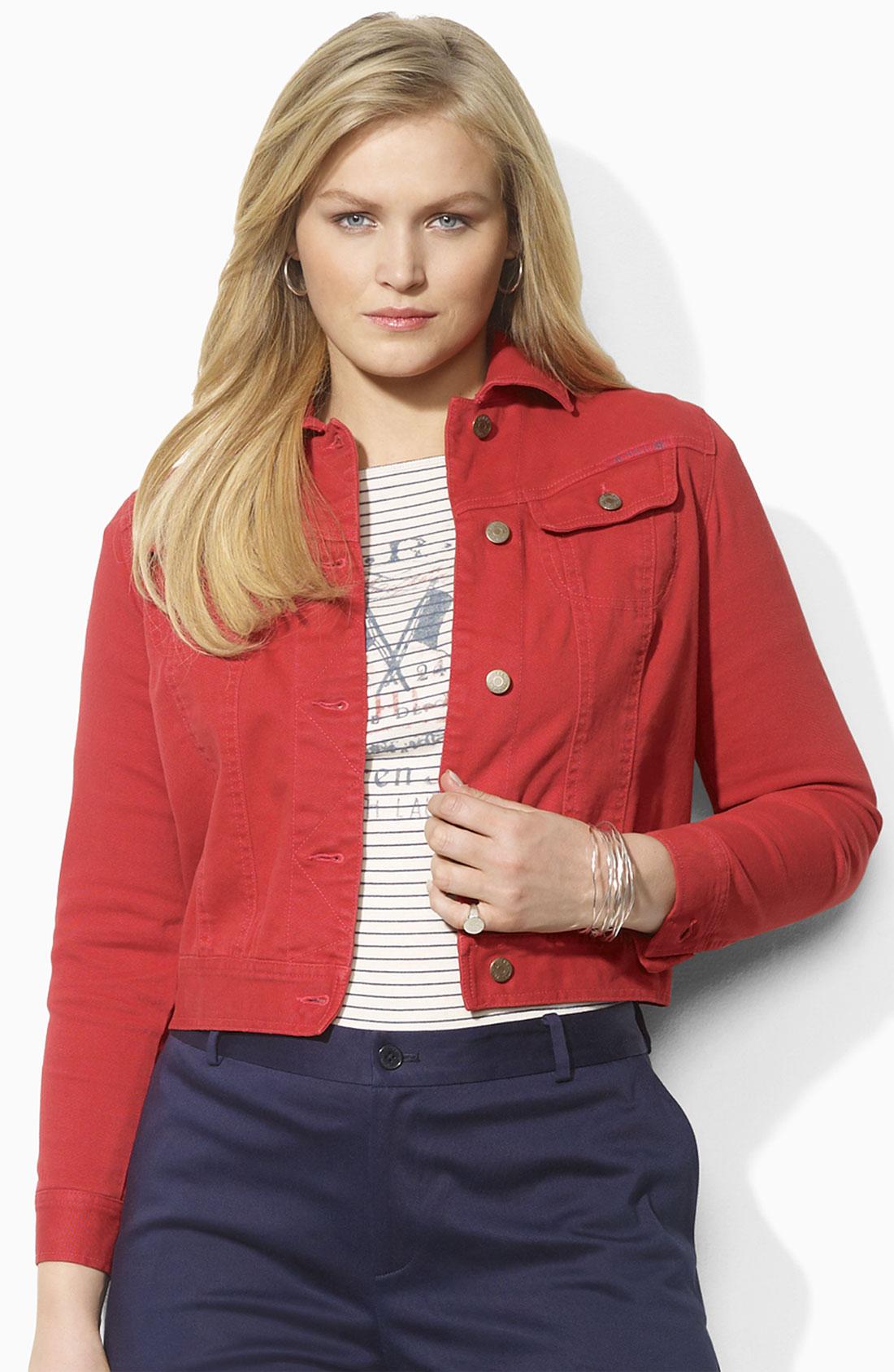Lauren by ralph lauren Color Denim Jacket in Red | Lyst