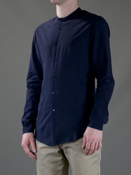 Cotton Banded Collar Shirts For Men
